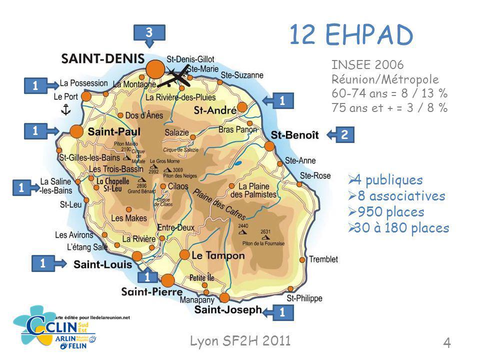 12 EHPAD 4 publiques 8 associatives 950 places 30 à 180 places
