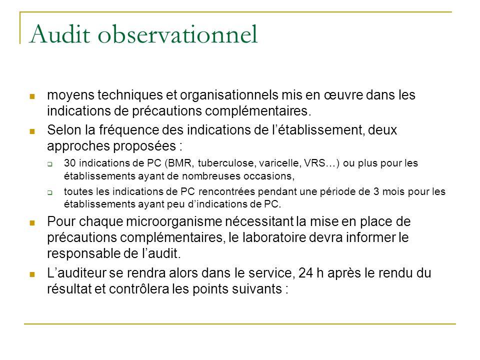 Audit observationnel moyens techniques et organisationnels mis en œuvre dans les indications de précautions complémentaires.