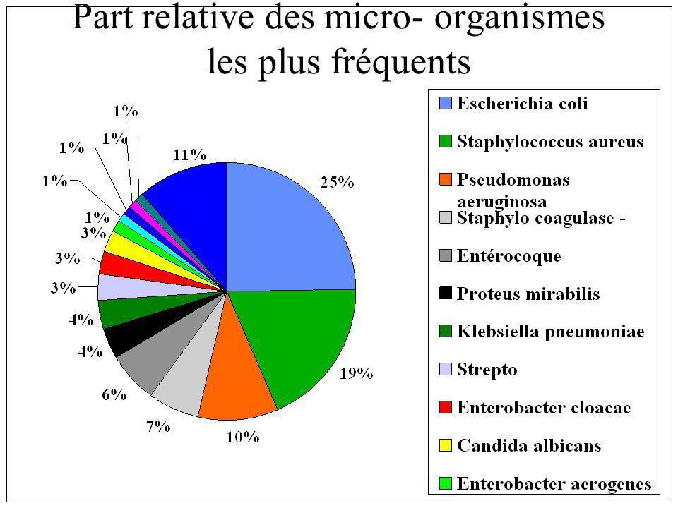 Part relative des micro- organismes les plus fréquents