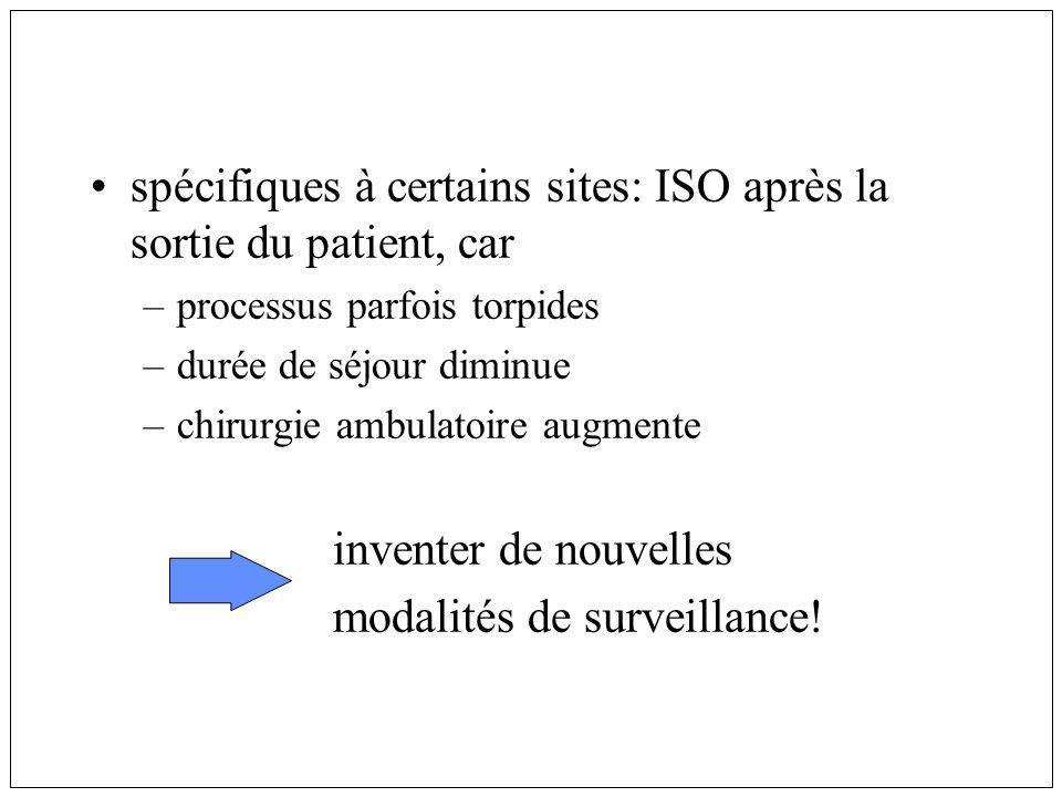spécifiques à certains sites: ISO après la sortie du patient, car