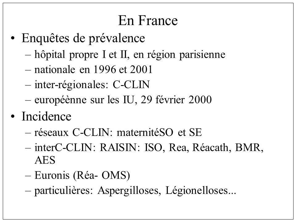 En France Enquêtes de prévalence Incidence