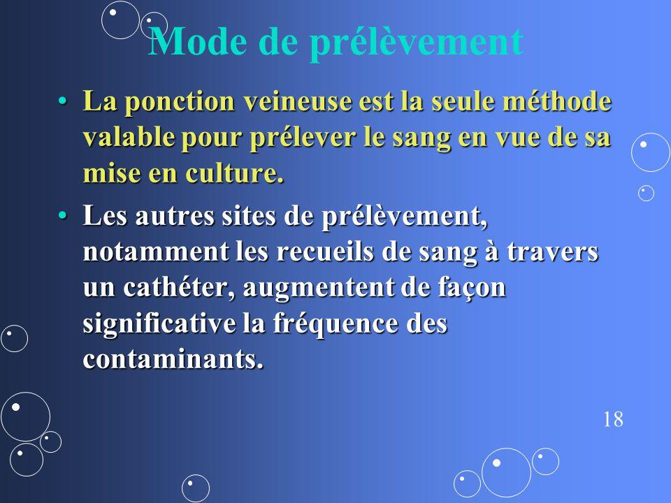 Mode de prélèvement La ponction veineuse est la seule méthode valable pour prélever le sang en vue de sa mise en culture.