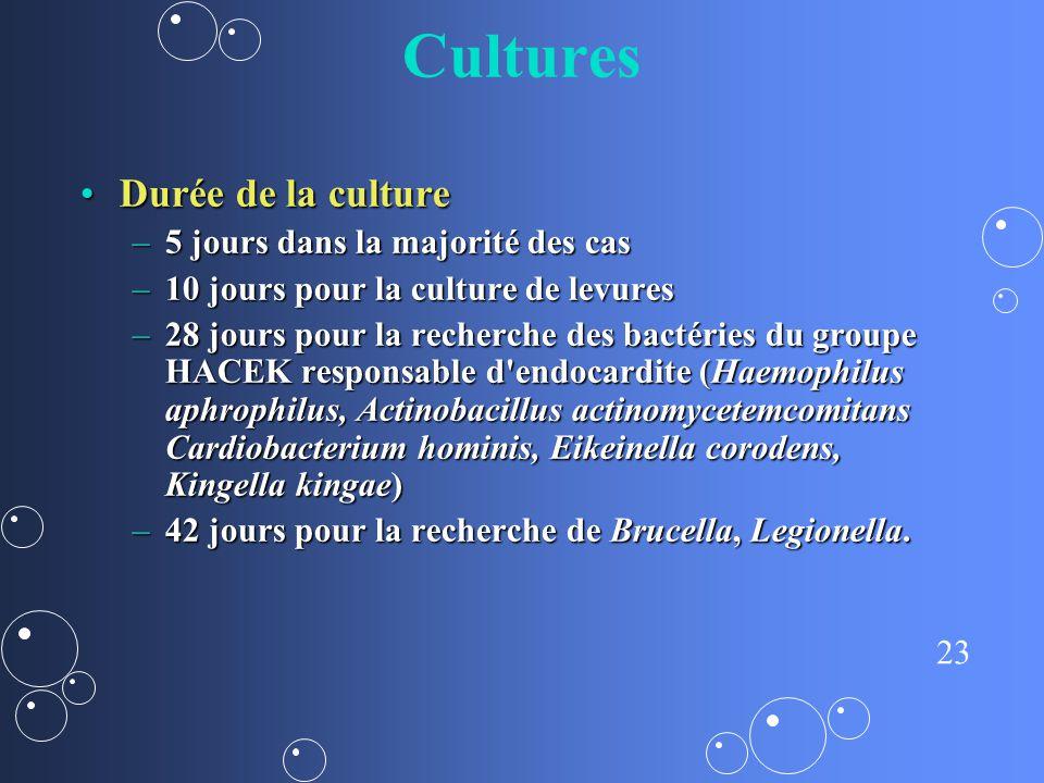Cultures Durée de la culture 5 jours dans la majorité des cas