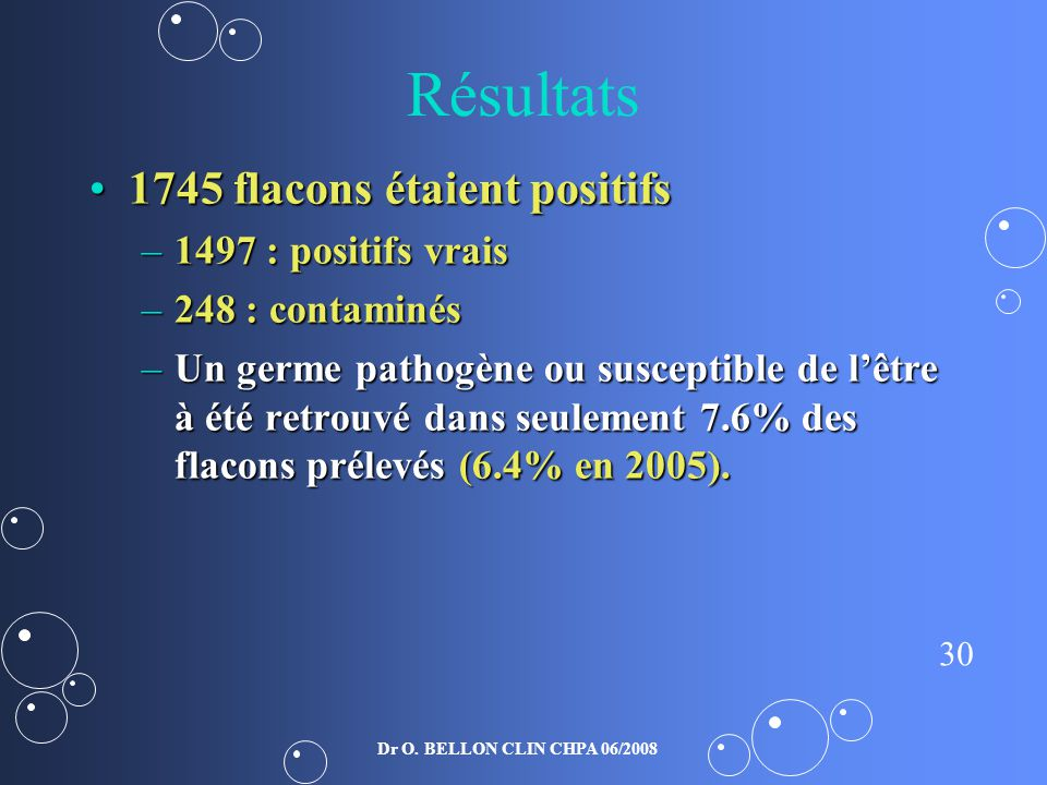 Résultats 1745 flacons étaient positifs 1497 : positifs vrais