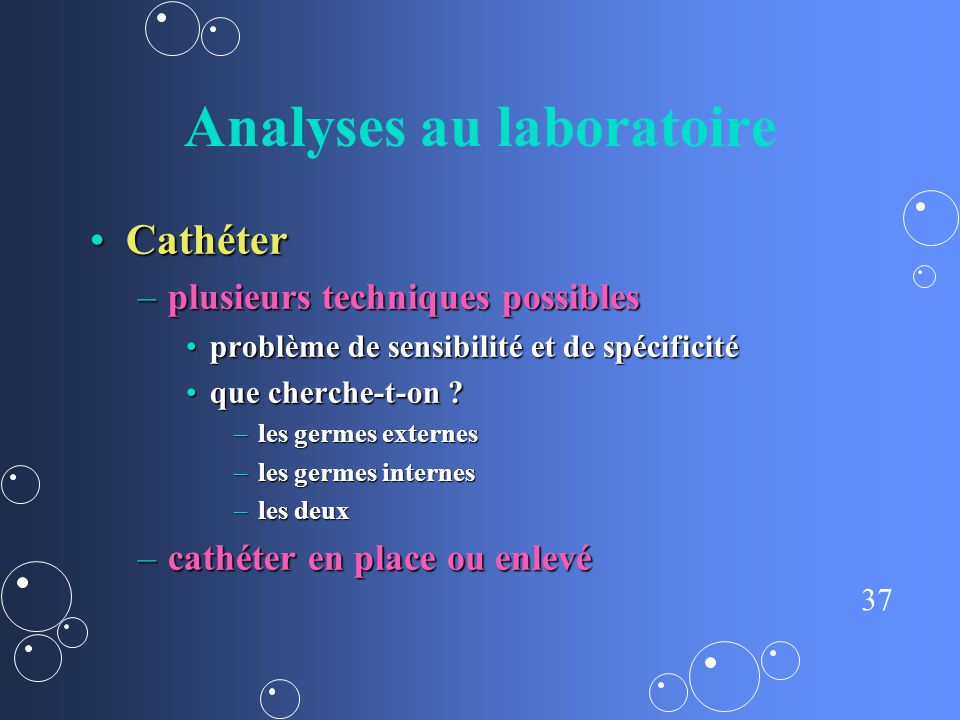 Analyses au laboratoire