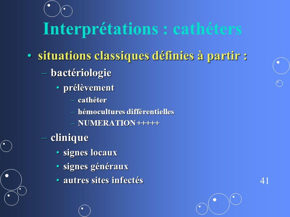 Interprétations : cathéters