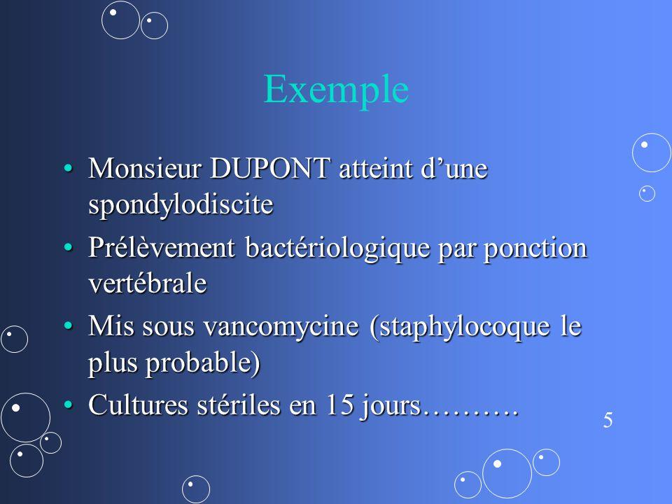 Exemple Monsieur DUPONT atteint d'une spondylodiscite