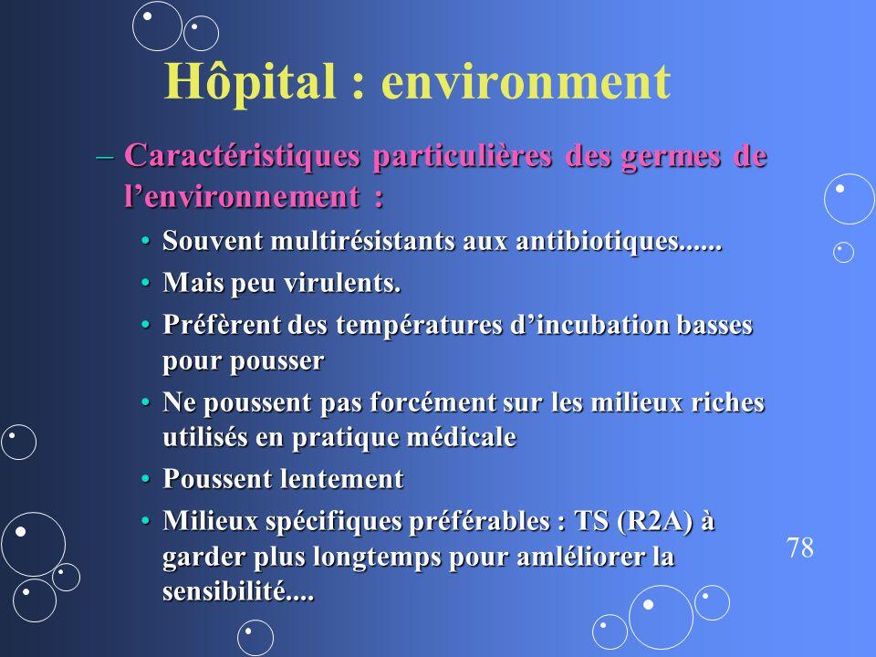 Hôpital : environment Caractéristiques particulières des germes de l'environnement : Souvent multirésistants aux antibiotiques......