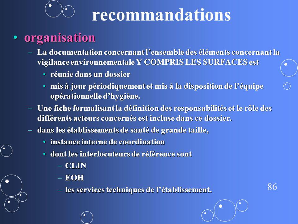 recommandations organisation