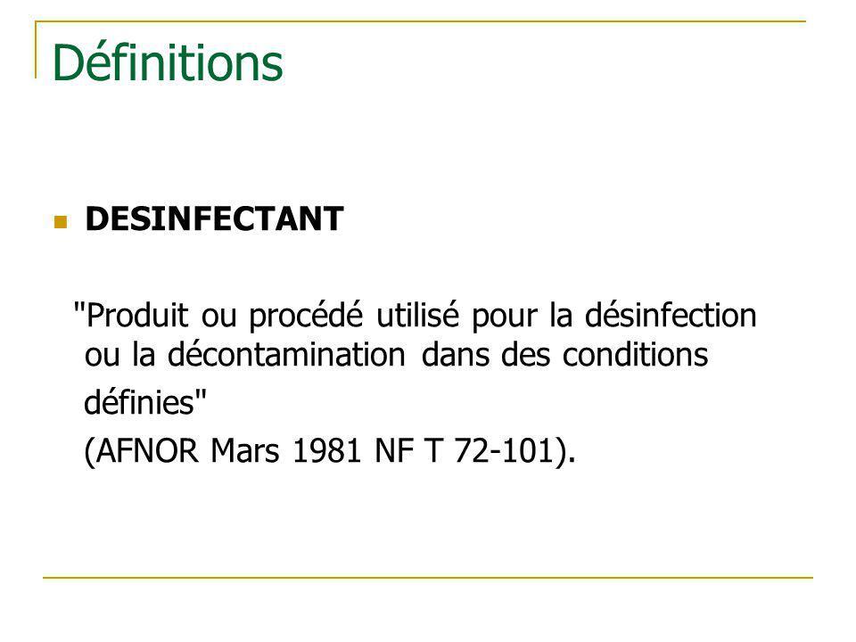 Définitions DESINFECTANT