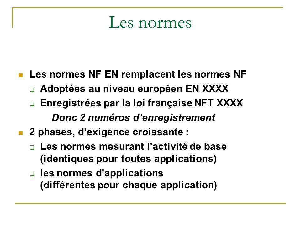 Les normes Les normes NF EN remplacent les normes NF