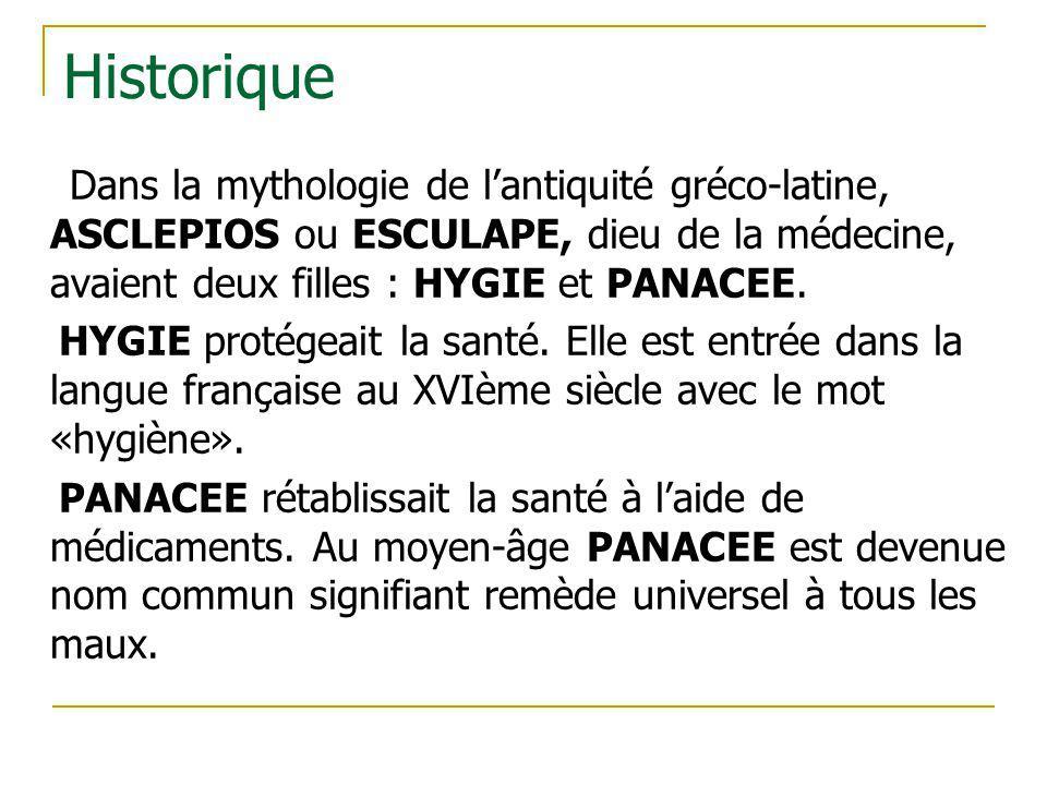 Historique Dans la mythologie de l'antiquité gréco-latine, ASCLEPIOS ou ESCULAPE, dieu de la médecine, avaient deux filles : HYGIE et PANACEE.