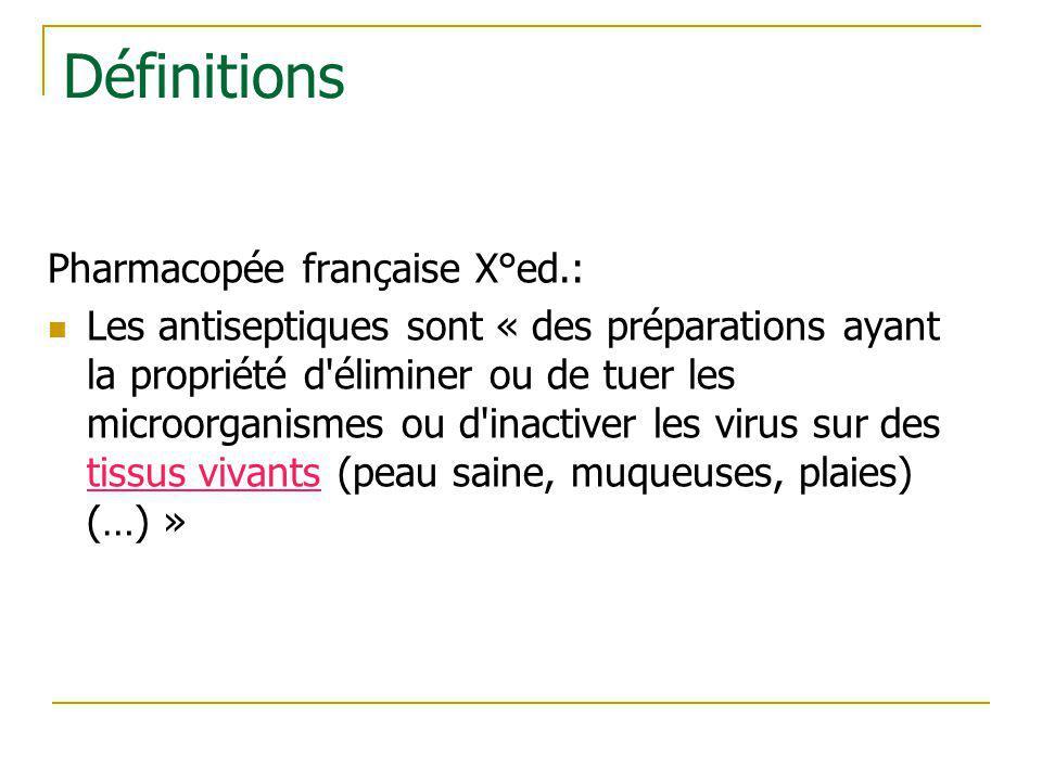 Définitions Pharmacopée française X°ed.: