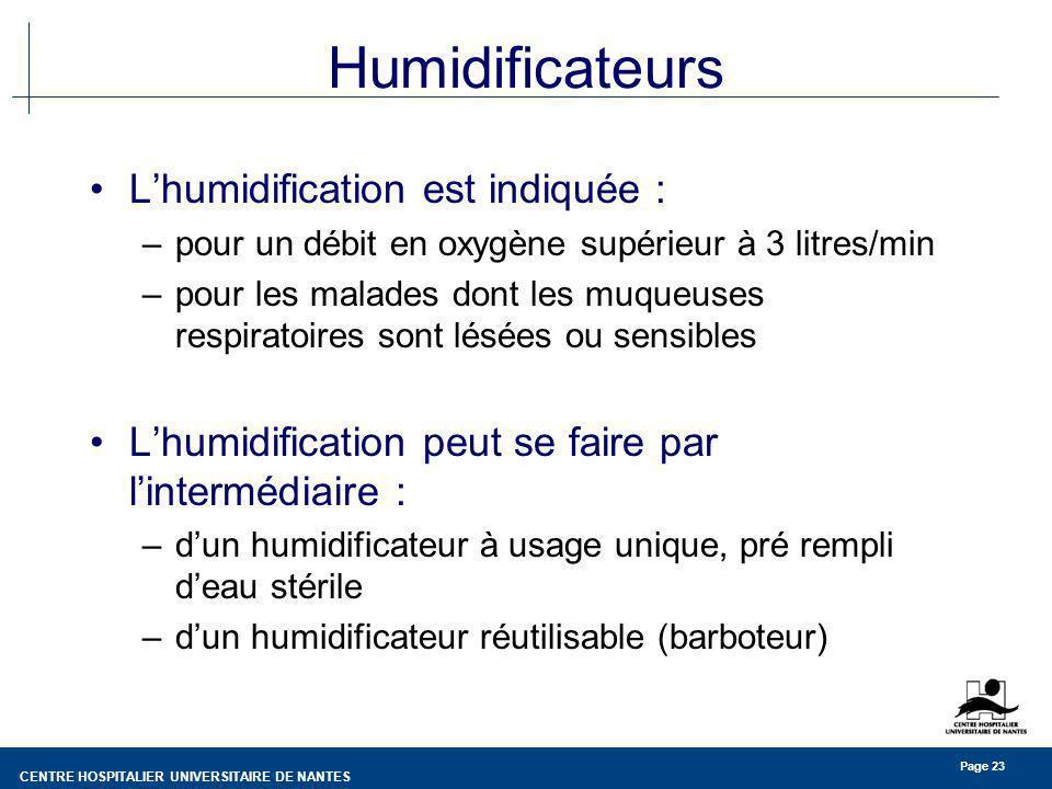 Humidificateurs L'humidification est indiquée :