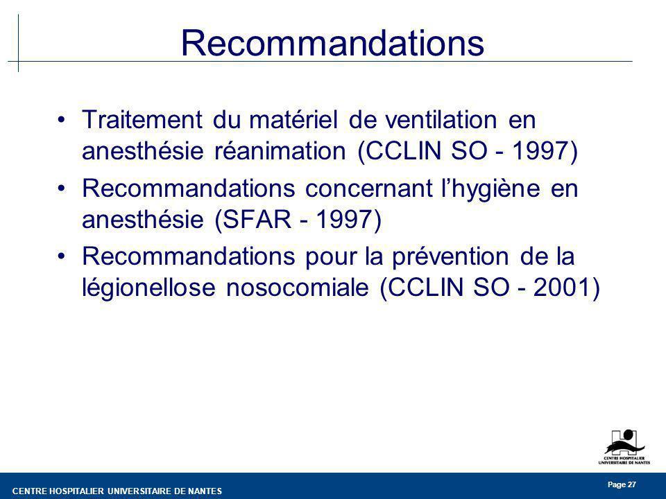 Recommandations Traitement du matériel de ventilation en anesthésie réanimation (CCLIN SO - 1997)