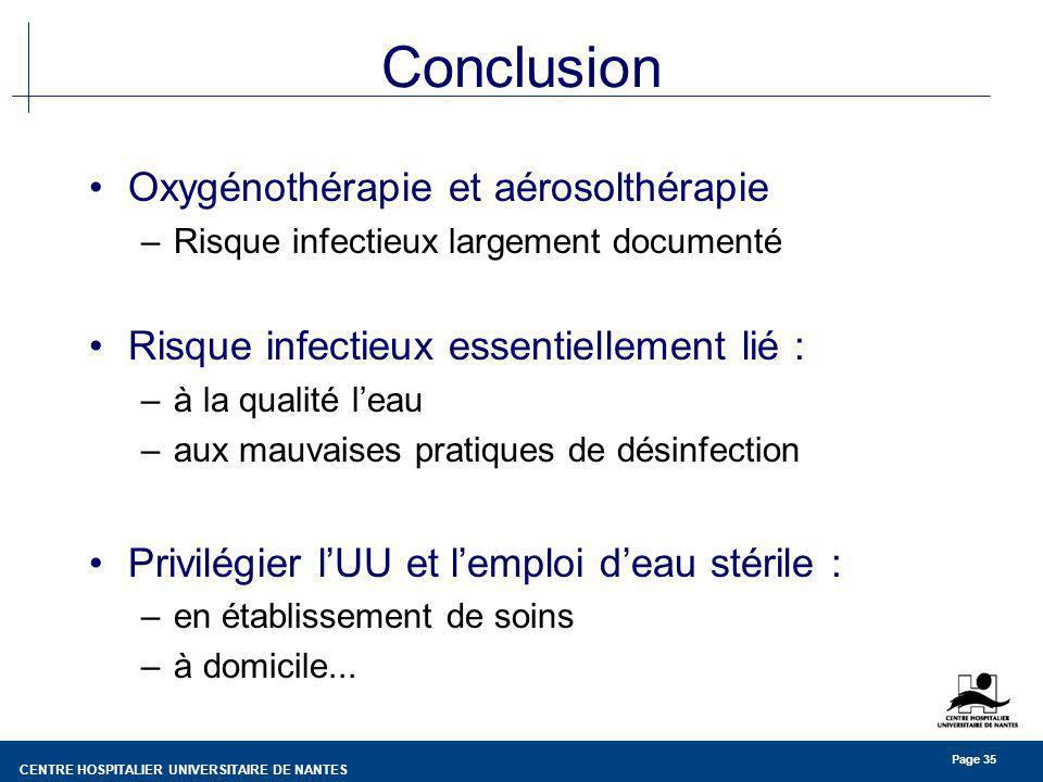 Conclusion Oxygénothérapie et aérosolthérapie