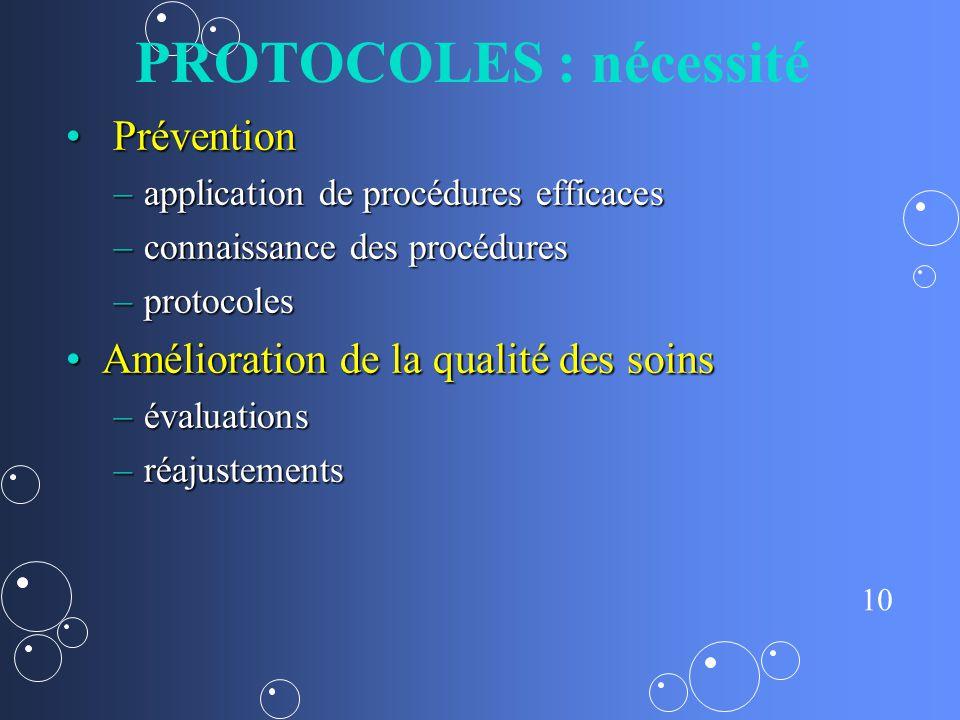 PROTOCOLES : nécessité