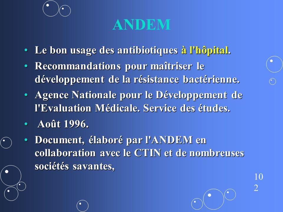 ANDEM Le bon usage des antibiotiques à l hôpital.