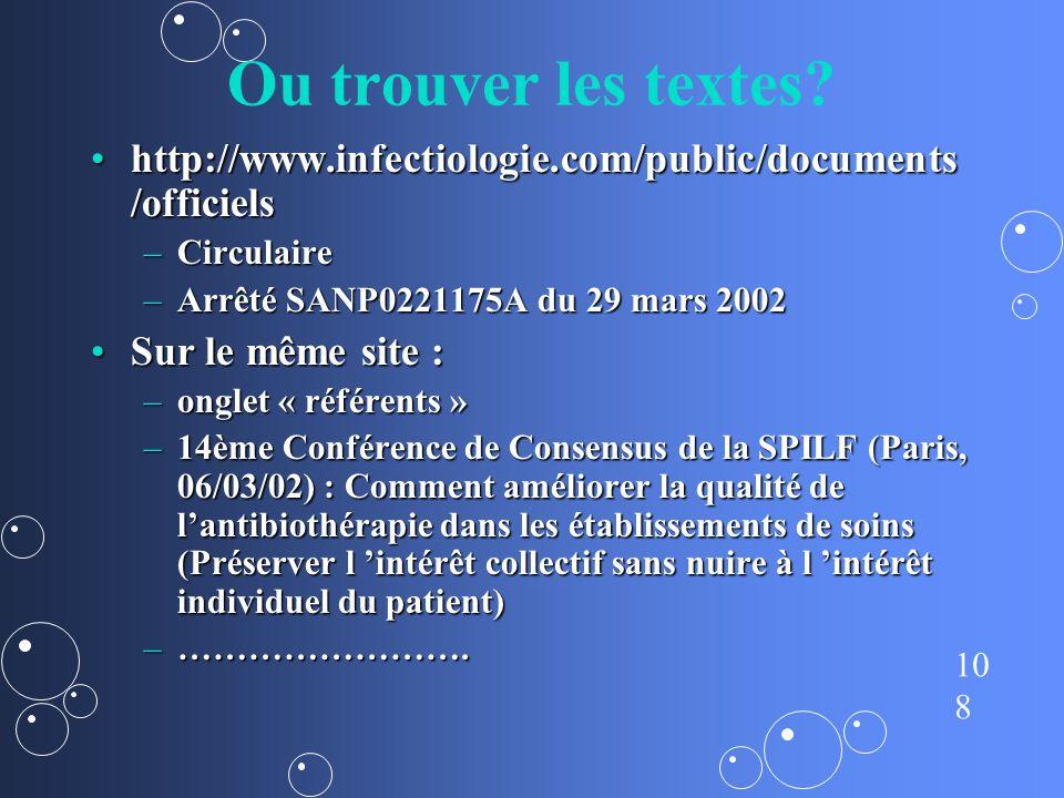 Ou trouver les textes http://www.infectiologie.com/public/documents/officiels. Circulaire. Arrêté SANP0221175A du 29 mars 2002.