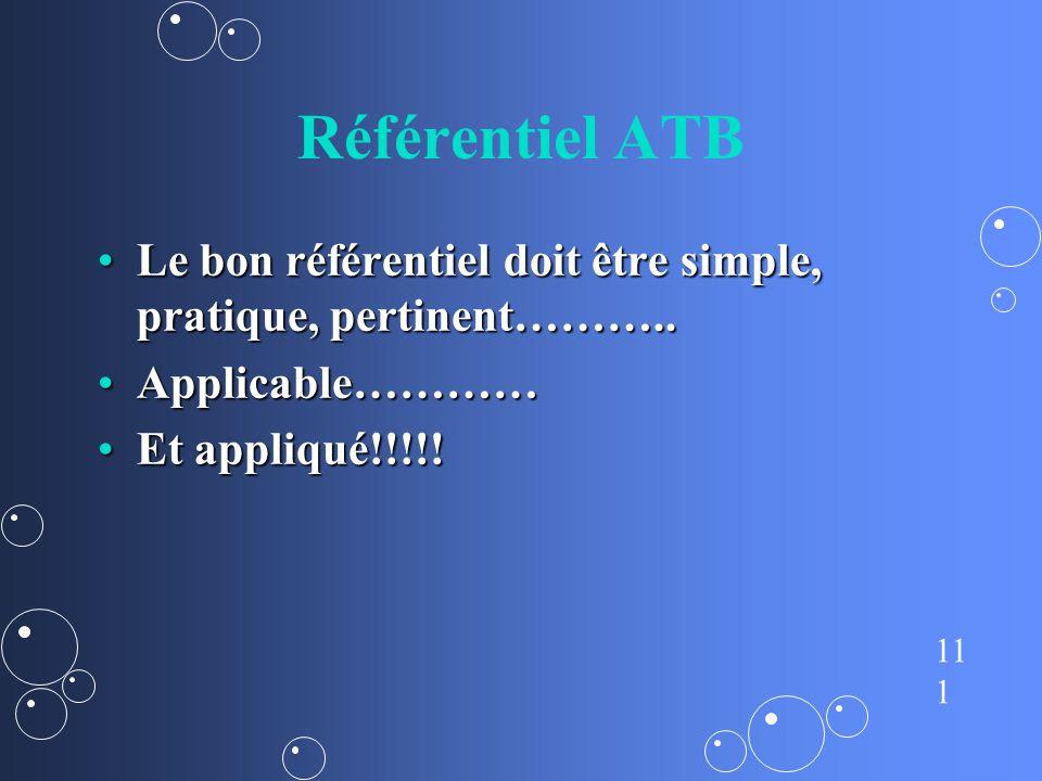 Référentiel ATB Le bon référentiel doit être simple, pratique, pertinent………..