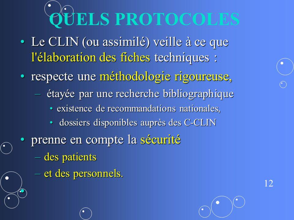 QUELS PROTOCOLES Le CLIN (ou assimilé) veille à ce que l élaboration des fiches techniques : respecte une méthodologie rigoureuse,