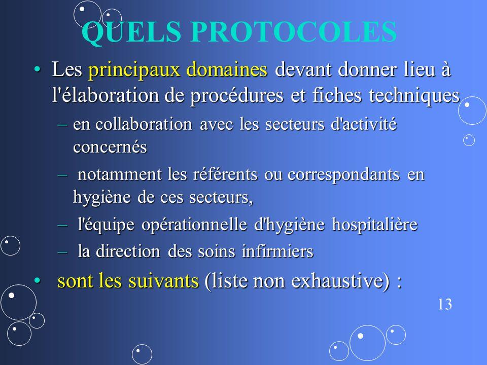 QUELS PROTOCOLES Les principaux domaines devant donner lieu à l élaboration de procédures et fiches techniques.