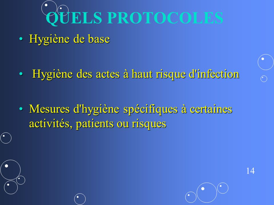 QUELS PROTOCOLES Hygiène de base