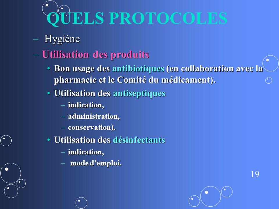 QUELS PROTOCOLES Hygiène Utilisation des produits
