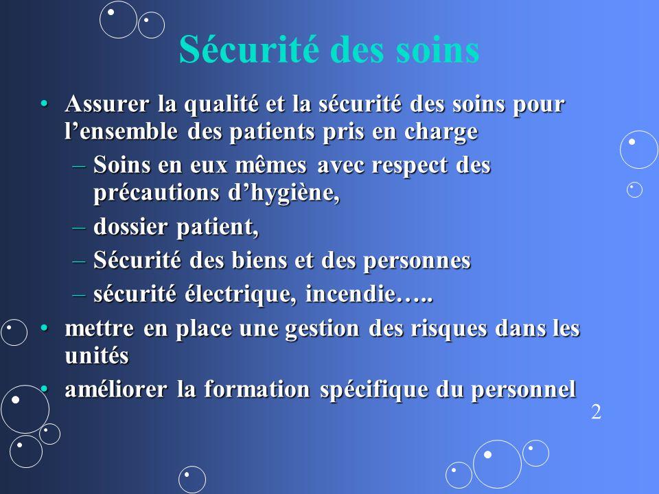 Sécurité des soins Assurer la qualité et la sécurité des soins pour l'ensemble des patients pris en charge.