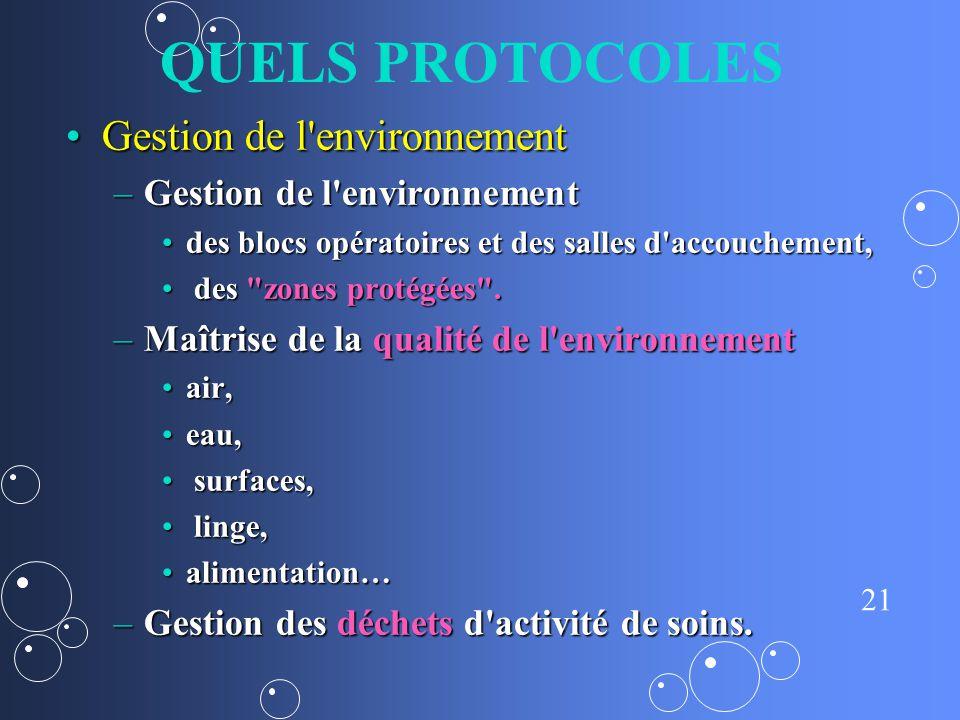QUELS PROTOCOLES Gestion de l environnement