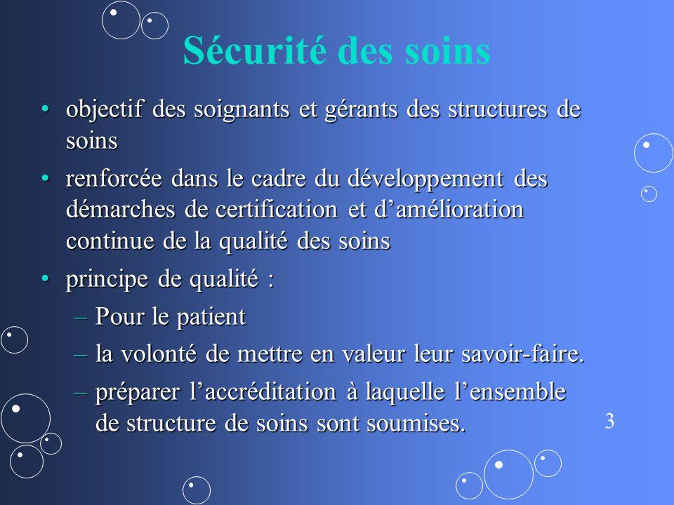 Sécurité des soins objectif des soignants et gérants des structures de soins.