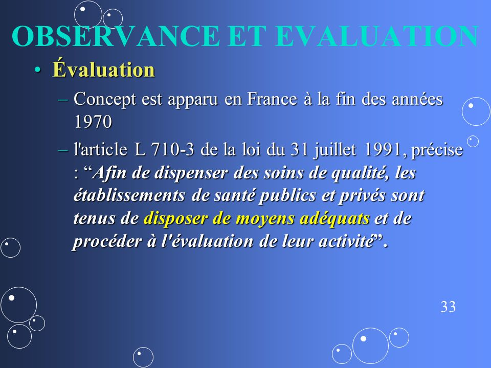 OBSERVANCE ET EVALUATION