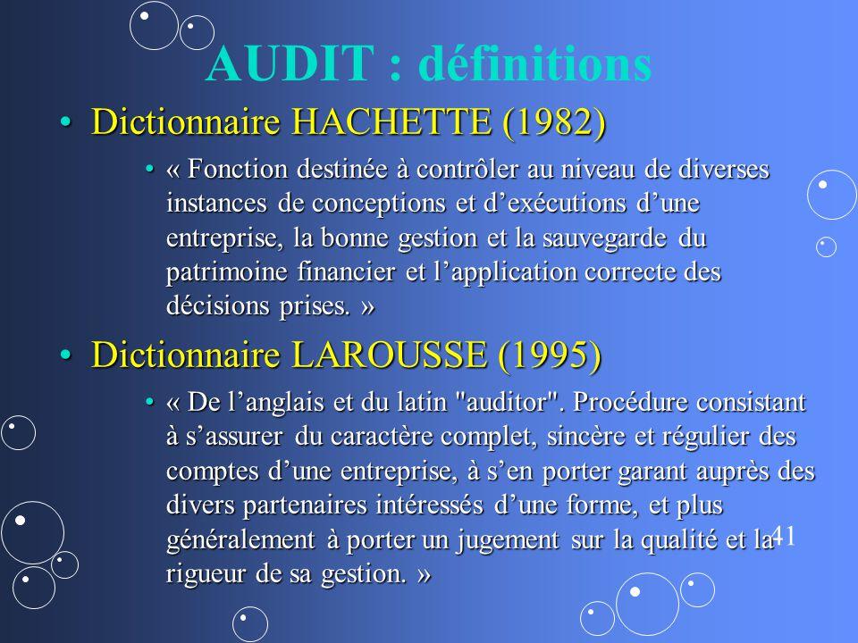 AUDIT : définitions Dictionnaire HACHETTE (1982)