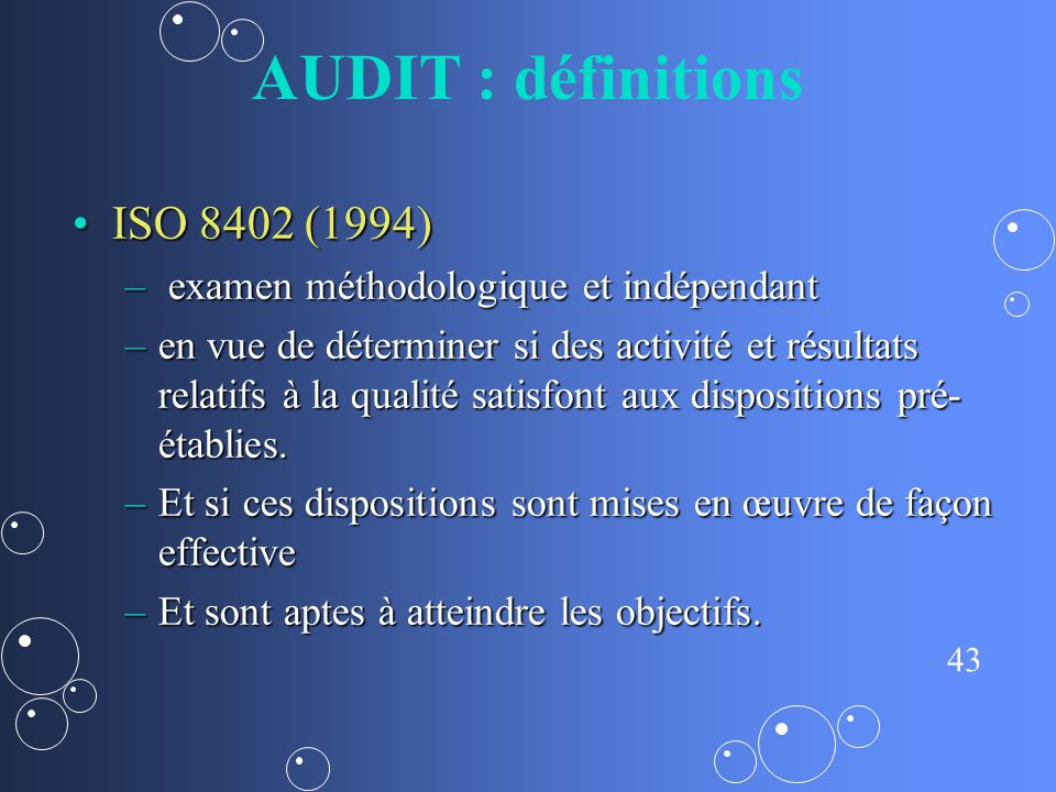 AUDIT : définitions ISO 8402 (1994)