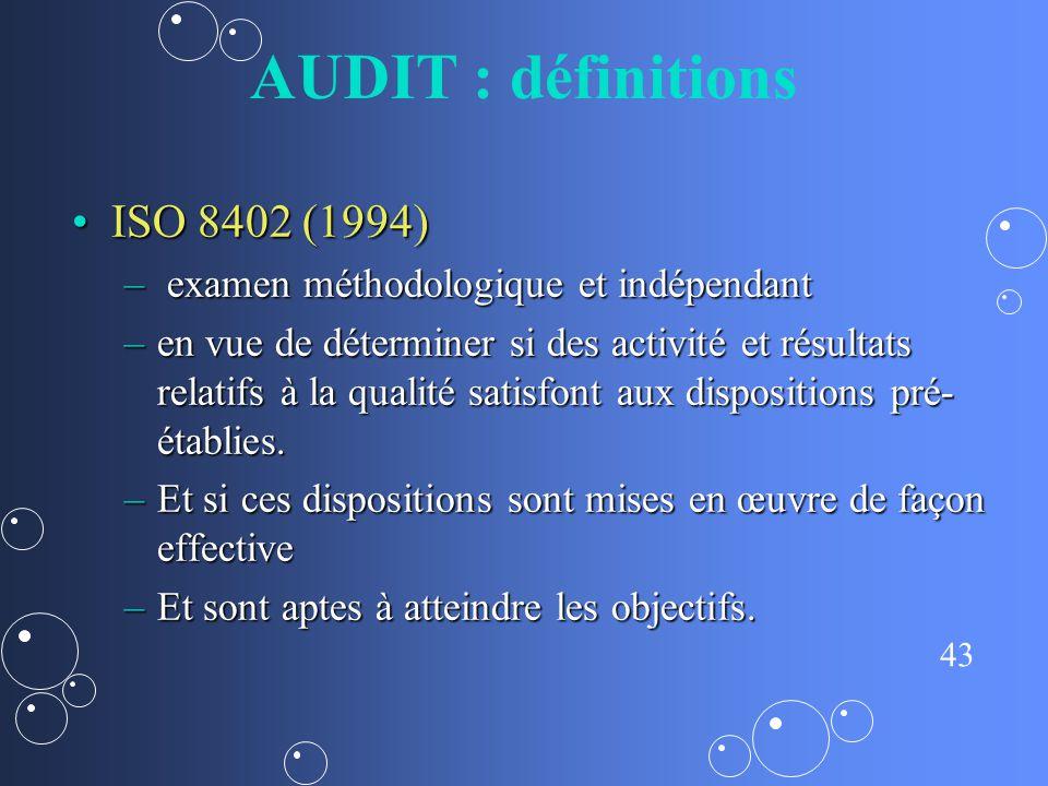 AUDIT : définitions ISO 8402 (1994)