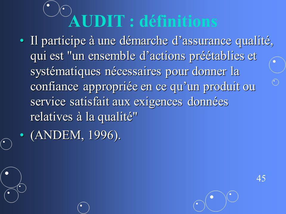 AUDIT : définitions