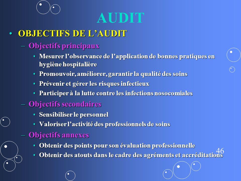 AUDIT OBJECTIFS DE L'AUDIT Objectifs principaux Objectifs secondaires
