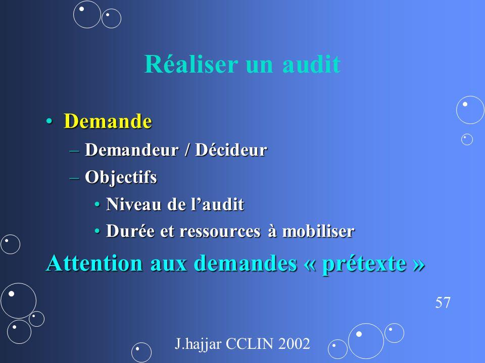 Réaliser un audit Attention aux demandes « prétexte » Demande