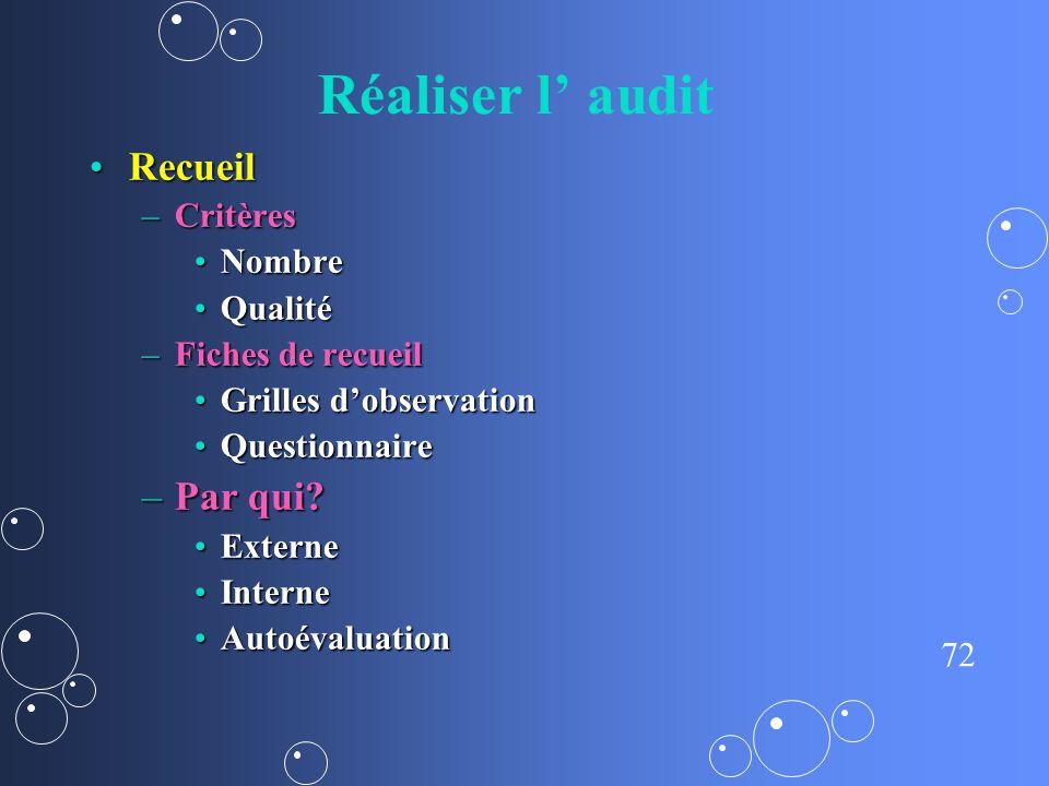 Réaliser l' audit Recueil Par qui Critères Nombre Qualité