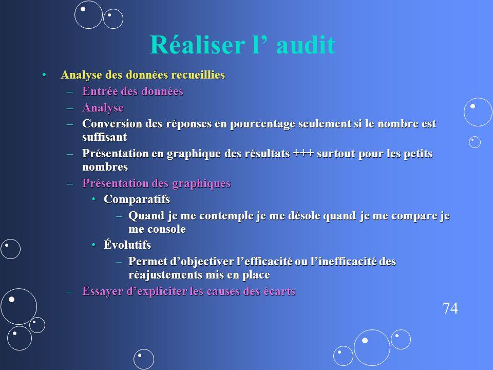 Réaliser l' audit Analyse des données recueillies Entrée des données