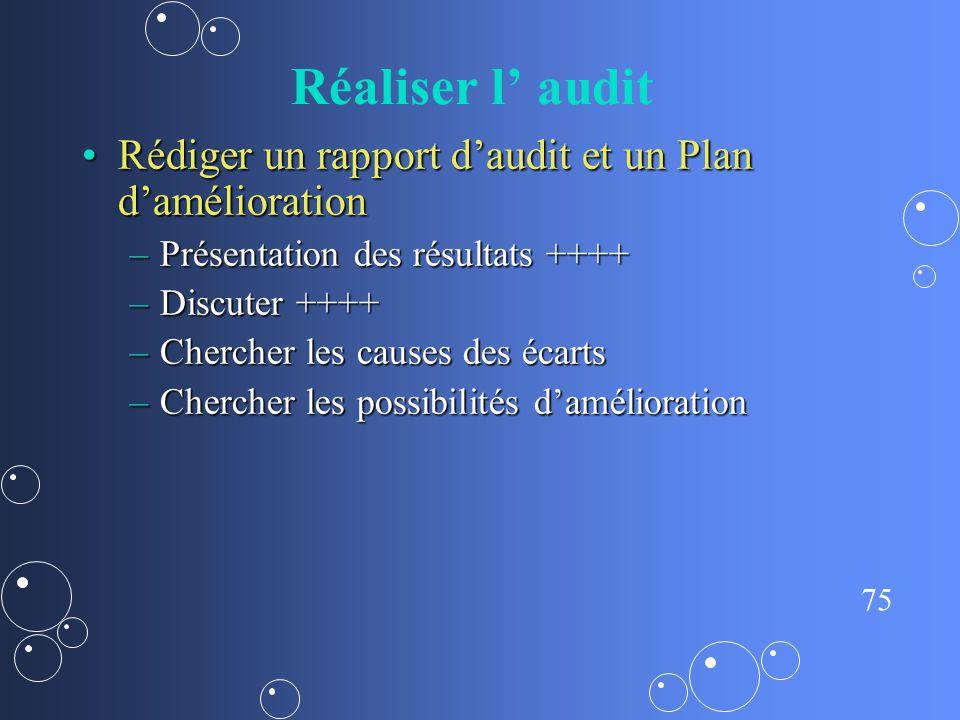 Réaliser l' audit Rédiger un rapport d'audit et un Plan d'amélioration