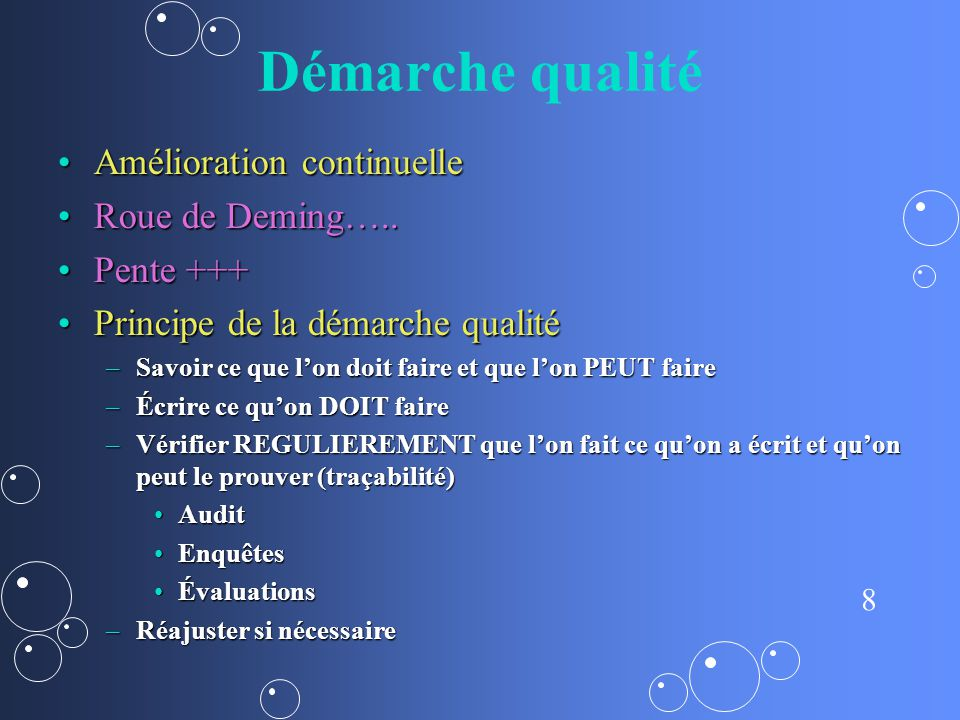 Démarche qualité Amélioration continuelle Roue de Deming….. Pente +++