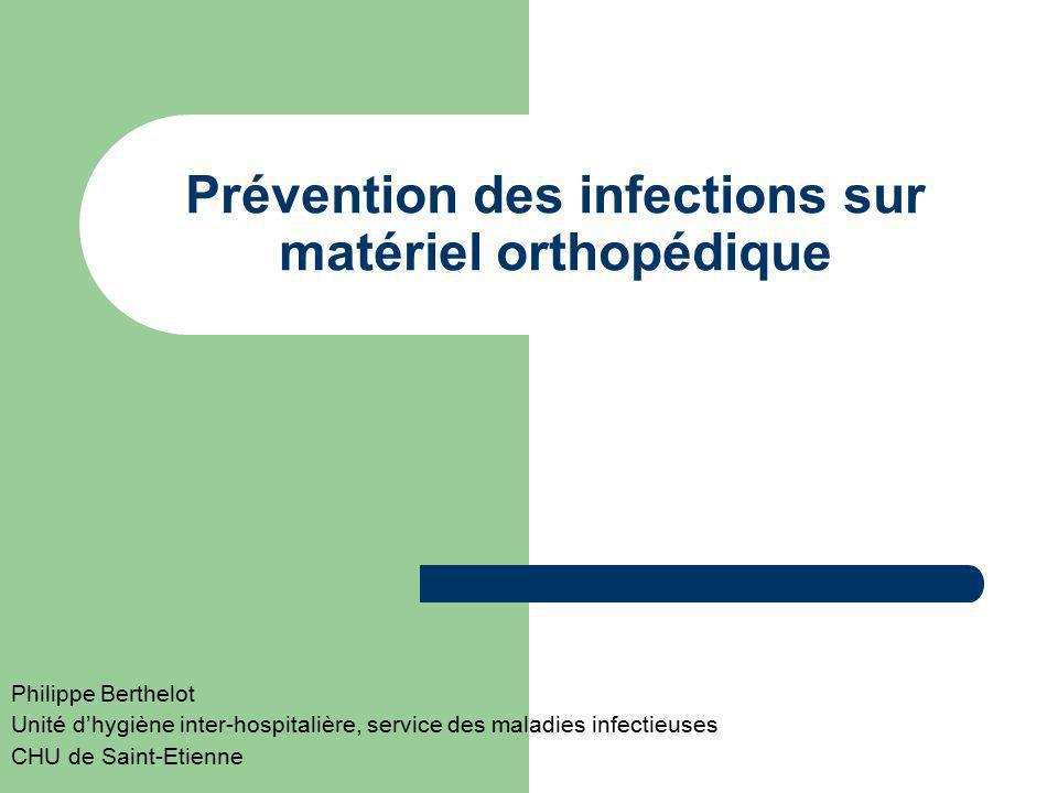 Prévention des infections sur matériel orthopédique
