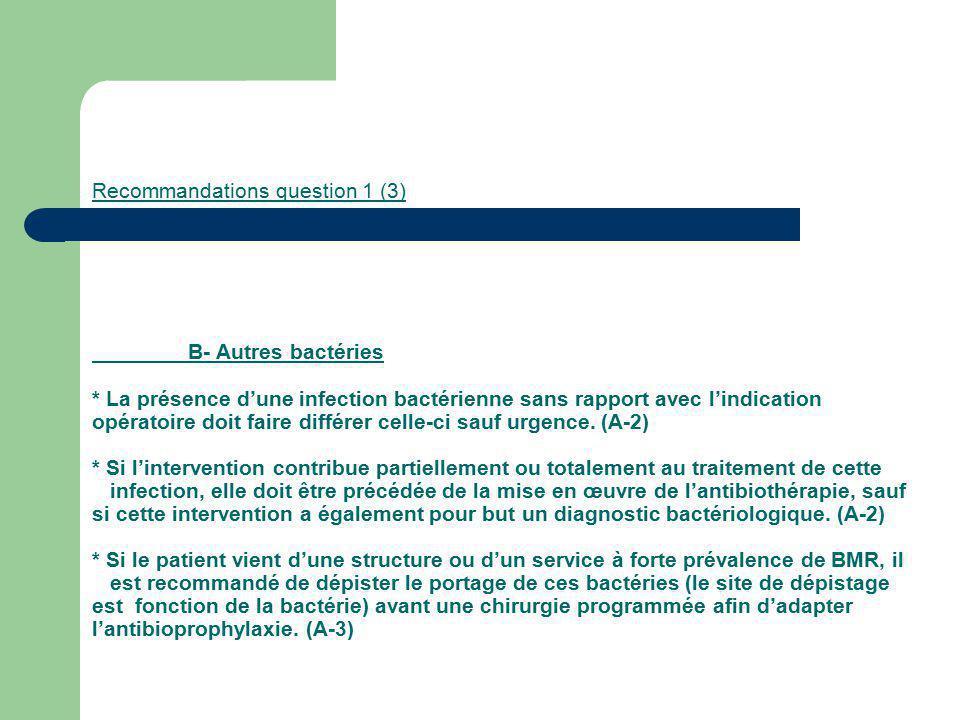 Recommandations question 1 (3). B- Autres bactéries