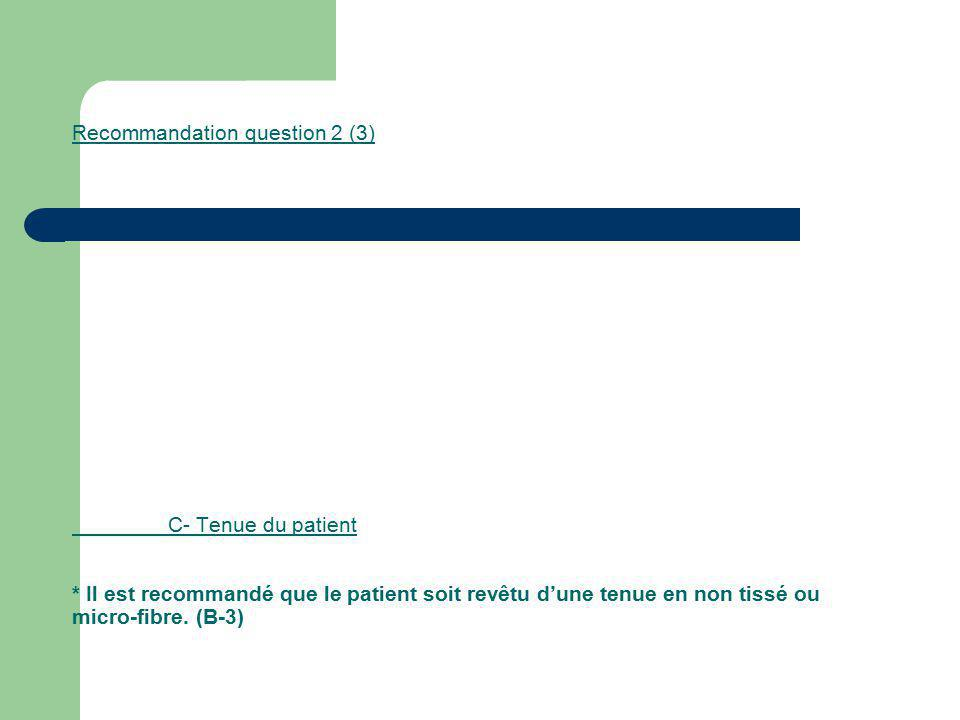 Recommandation question 2 (3). C- Tenue du patient