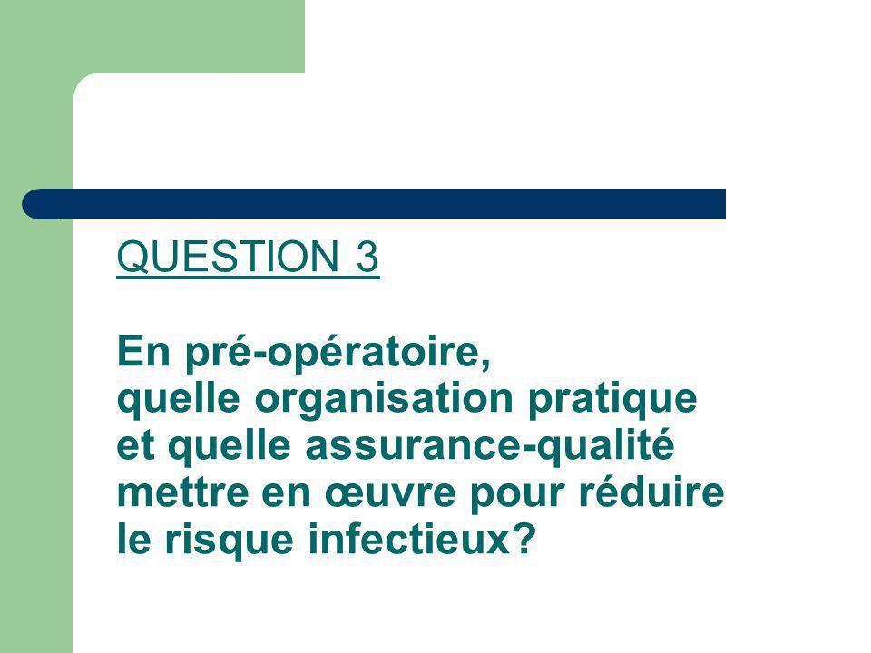 QUESTION 3 En pré-opératoire, quelle organisation pratique et quelle assurance-qualité mettre en œuvre pour réduire le risque infectieux