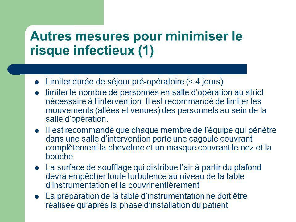 Autres mesures pour minimiser le risque infectieux (1)