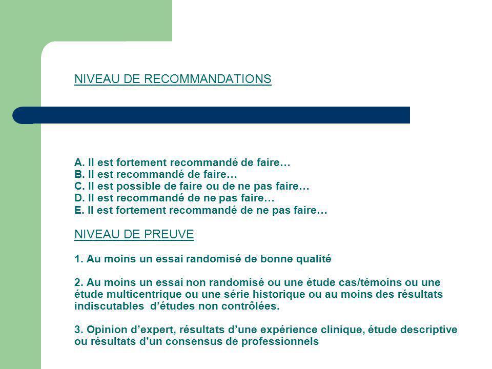 NIVEAU DE RECOMMANDATIONS A. Il est fortement recommandé de faire… B