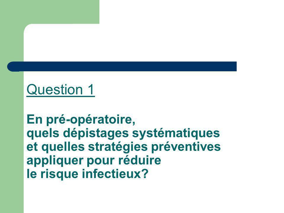 Question 1 En pré-opératoire, quels dépistages systématiques et quelles stratégies préventives appliquer pour réduire le risque infectieux