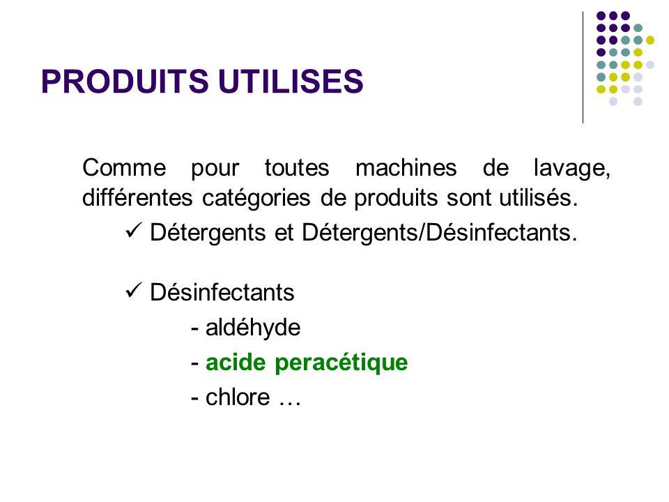 PRODUITS UTILISES Comme pour toutes machines de lavage, différentes catégories de produits sont utilisés.